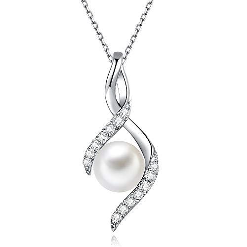 immobird Collar Perlas Colgante con Perlas Cultivadas en Agua Dulce 8mm Collares Mujer Plata de Ley 925 Regalo San Valentín