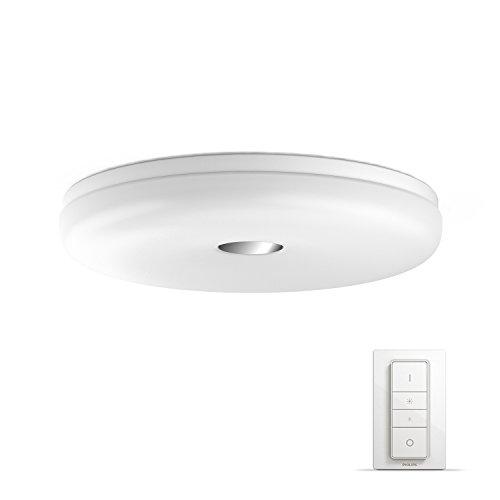 Philips Hue Struana Led-plafondlamp/badkamerlamp, incl. dimschakelaar, dimbaar, alle witschakeringen, bestuurbaar via app, wit, compatibel met Amazon Alexa (Echo, Echo Dot)