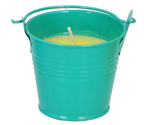 ABRUS Small Citronella Candle in Metal Bucket | Perfect Decor for Outdoors Parties, Reiki or Spa - Diffuses a Pleasant Citronella Fragrance Keeping the Pesky Bugs Away (Green)