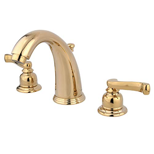 Product Image of the Kingston Brass KB982FL Royale Widespread Lavatory Faucet with Brass Pop-Up, Polished Brass,8-Inch Adjustable Center