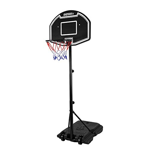 ONETWOFIT Teenagers Basketball System,Adjustable Height 44.5' - 80.7' (3.7ft - 6.7ft) Portable...