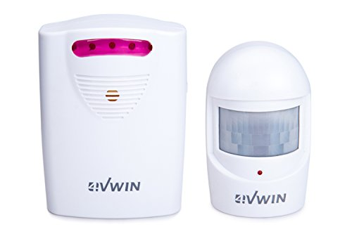 4VWIN Wireless Home Security Driveway Alarm 1 Receiver and 1 PIR Motion Sensor Detector Infrared Alert System Kit