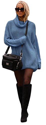 Mikos Damen Strickpullover Sweater Rollkragen Pullover Kuscheliger Jumper Strick Pulli Oversize (648) (Jeans)