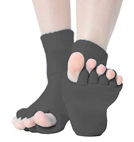 Zehenspreizer Socken | 1 Paar in Einheitsgröße | Gegen Hallux Valgus und zur Pediküre (Schwarz)