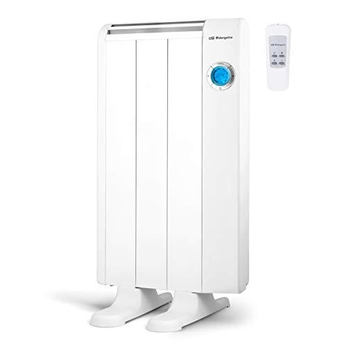 Orbegozo RRE 510 Emisor Térmico Bajo Consumo, 3 Elementos de Calor, Pantalla Digital LCD, Mando a Distancia, Funcionamiento Programable, 500 W, Aluminio, Color blanco