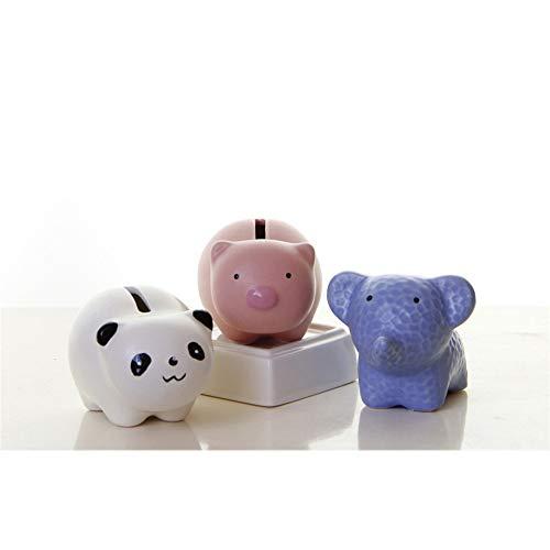 Little Boy Hucha de cerdito con diseño de animales, 3 unidades, para decoración de monedas, elefante panda y koala, para niños y niñas