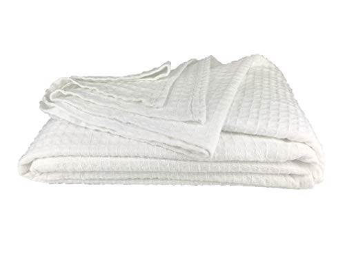 Morning Calm Creations Lightweight Breathable 100% Soft Cotton Blanket Queen Size - Classic Waffle Weave Design (White)