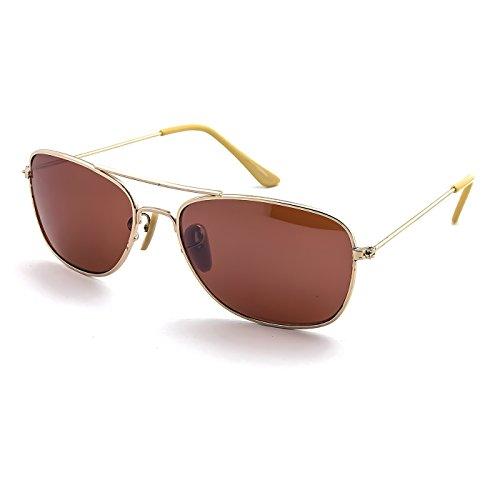 KISS Gafas de sol mod. AIRCRAFT Small Size (S) - hombre mujer VINTAGE rectangular aviador - GOLD/Ámbar
