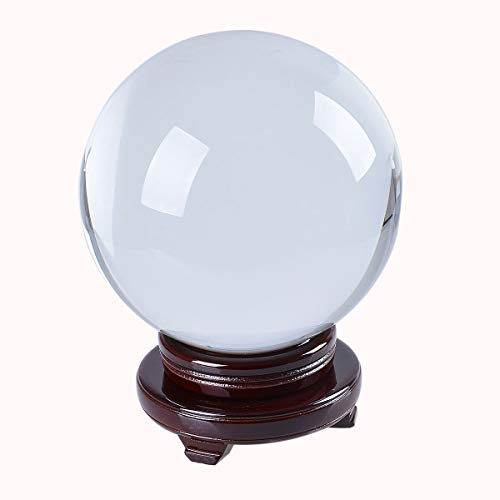 LONGWIN K9 Crystal Ball Photography Props Clear with Red Rotating Wood Stand Gift Packing (200mm)