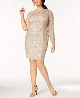 ADRIANNA PAPELL Womens Beige Sequined Long Sleeve Asymmetrical Neckline Knee Length Body Con Prom Dress Plus US Size: 20W