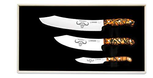 Giesser seit 1776 - Made in Germany - PremiumCut, Spicy Orange, Messerset 3 teilig, Kochmesser 20 cm, Brotmesser 25 cm, Officemesser 10 cm, Acryl, exotisch, rostfrei, Grillmesserset