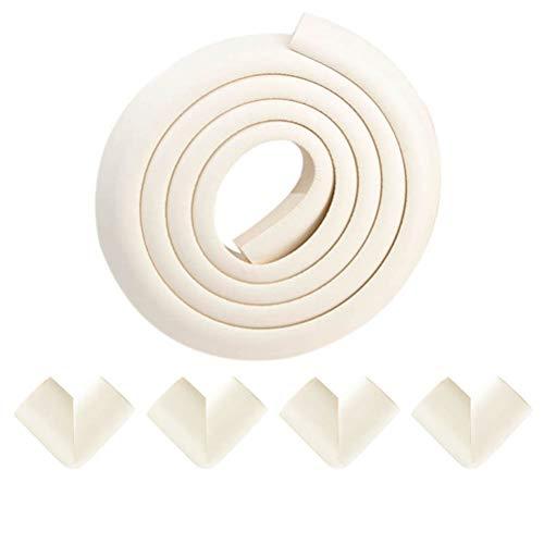 Paraspigoli Angolari - Protezione contro Spigoli di Mobili - Kit di Sicurezza per Bambini e Bimbi, 2M Protezione per Bordi, 4 Protezione spigoli e angoli (2m spigolo+4 angoli, Bianco)