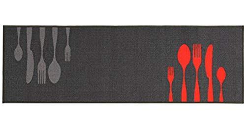 Küchenläufer / Küchenmatte / Dekoläufer für Küche und Bar / Teppich / Läüfer / Küchenläufer / Küchendeko Modell / grey / Besteck / grau / Größe ca. 57 x 140 cm