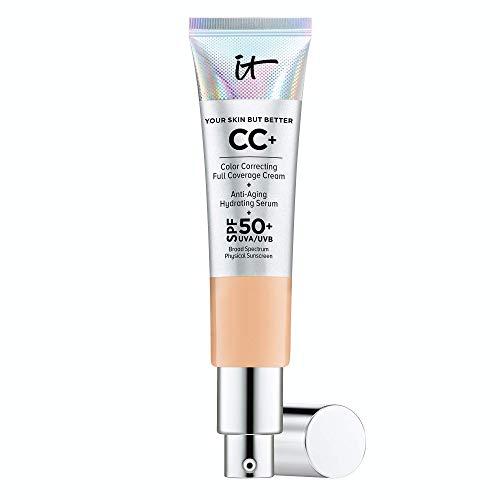 IT Cosmetics Your Skin But Better CC+ Cream, Neutral Medium (N) - Color Correcting Cream, Full-Coverage Foundation, Anti-Aging Serum & SPF 50+ Sunscreen - Natural Finish - 1.08 fl oz