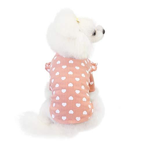 HDDFG 3 kleur Hart Print Herfst Winter Pet Kleding Tweebenige Warme Hond Jas Leuke Hondenkleding Pommeren Yorkie Outfit huisdieren Levert (Color : Pink, Size : XX-Large)