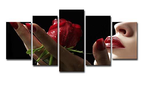 JKZHILOVE Cuadro en Lienzo Labios Rojos y Rosas Rojas Impresión de 5 Piezas Material Impresión Artística Imagen Gráfica Decoracion de Pared para Tu Salón o Dormitorio con Marco 150 x 80 cm