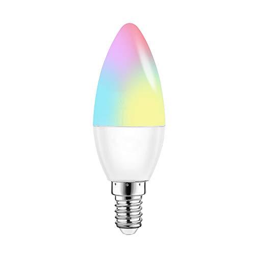OWSOO LED Lampadina V16-C Smart WIFI RGB + W LED Candle Bulb 6W E14 Dimmable Light Phone Telecomando Controllo di gruppo Compatibile con Alexa Google Home Tmall Genie Voice Control Light Bulb
