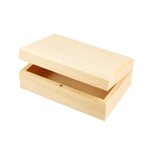 Creativ - Scatola lunga in legno per gioielli, con chiusura magnetica, coperchio integrato