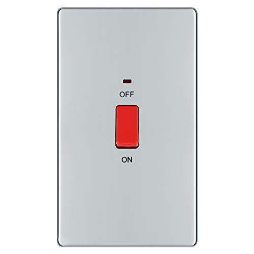 BG Electrical Double Pole Large Cooker Control Unit with a Power Indicator, 45 Amp, Polished Chrome