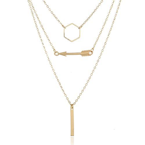 TONVER Collar Multicapa Chapado en Oro Hexagon Retro Circle Arrow Vertical Metal...