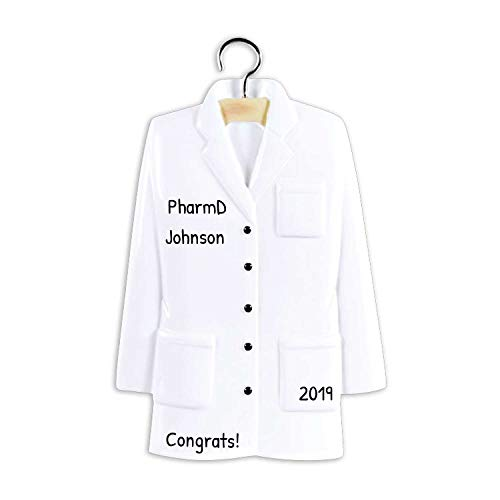 Ornaments by Elves Personalized Lab Coat Christmas Ornament for Tree 2018 - Laboratory Uniform on Hanger - Study Scientist Practitioner Physician MD Expert New Job PhD School Work -Free Customization