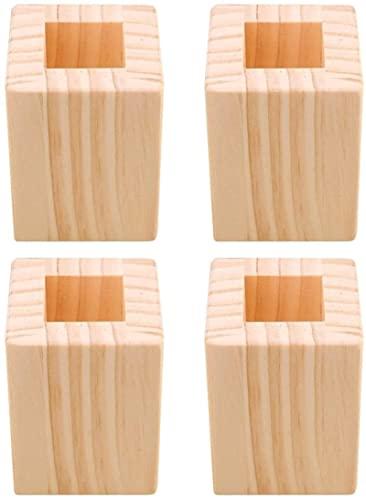 Gjrff 4 Piezas de 6x6x8.3cm a 5 cm Cerradas de Mesa de Madera Cuadrada de la Mesa de la Mesa de Las Patas de los Muebles