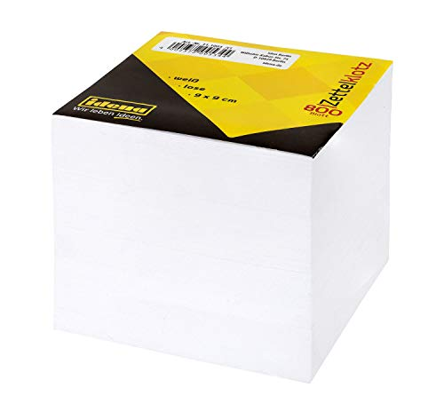 Idena 311003 - Zettelklotz lose, 9 x 9 x 9 cm, 70 g/m², 800 Blatt, weiß, 1 Stück