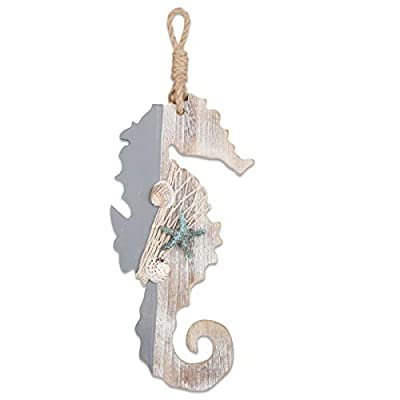 """YiYa 11.8"""" Wooden Decor Seahorse with Starfish and Shells for Nautical Decoration, Wall Decor Door Hanging Ornament Beach Theme Home Decoration"""