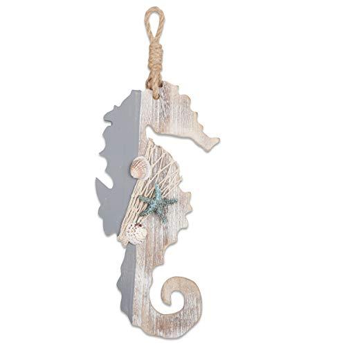 YiYa 30 CM Decoración de Madera Caballo de mar con Estrellas de mar y Conchas para decoración náutica, decoración de Pared Adorno Colgante de Puerta Tema de Playa Decoración del hogar.