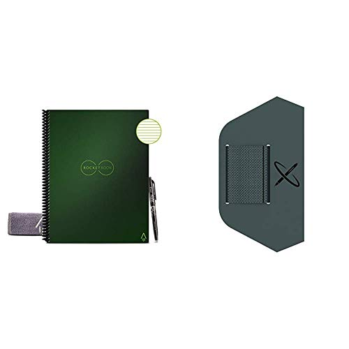 Rocketbook Smart Reusable Notebook - Lined Eco-Friendly Notebook with 1 Pilot Frixion Pen & 1 Microfiber Cloth Included & Pen/Pencil Holder (Pen Station)