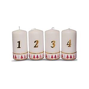 Weihnachtskerze Adventskerzen 1-4,mit Tannenbaum in Rot, Größe 15×6 cm Kerzen Set 4 Stück Deko Kerzen für Adventskranz…