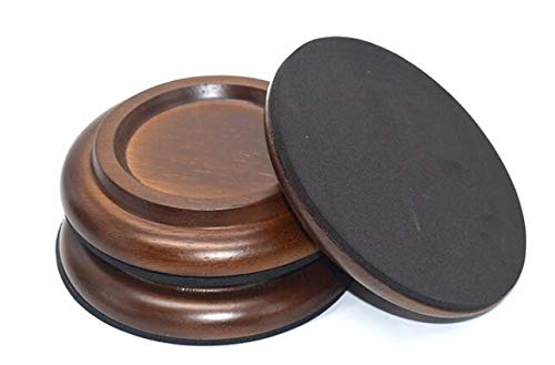 Hardwood Piano Caster Cups Floor Protector Solid Caster For Grand Piano Non-Slip & Anti-Noise Foot Pad, Set of 3 (Brown)
