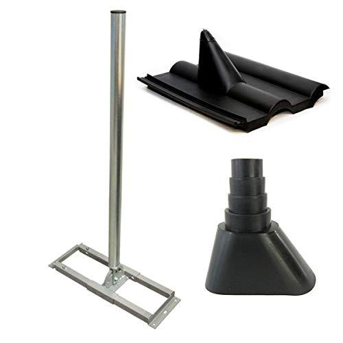 PremiumX Profi X100-48 SAT Dachsparrenhalter 100 cm Mast 48 mm Stahl feuerverzinkt Sparren-Halterung für Satelliten-Antenne Satellitenschüssel mit Frankfurter Dachabdeckung Manschette schwarz