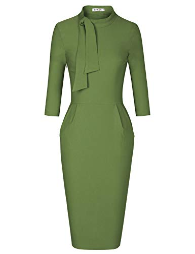 MUXXN Womens 50s Fashion Tie Neck 3/4 Sleeves Casual Wear to Work Pencil Dress (Olive Green M)