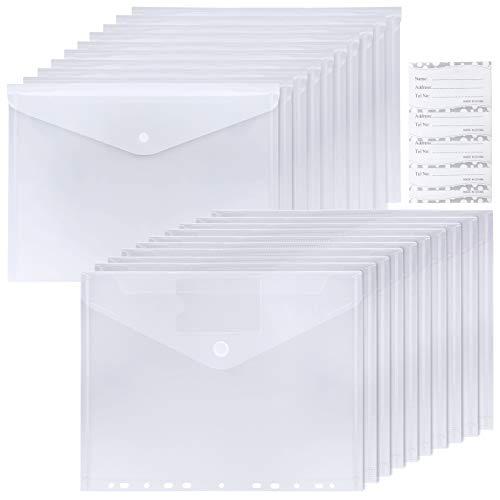 WD&CD 20 PCS A4 Carpeta Sobre de Plástico Transparente, Carpetas Transparentes para Documentos, Certificados, Recibos y Comprobantes con 20 Cartulina