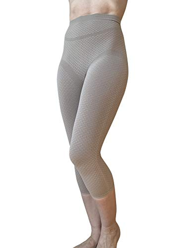 BIOFLECT® Infrared Compression Micromassage Capri Leggings - Therapy for Edema, Inflammation, Cellulite, Pain - Slimming Support and Comfort - Natural Alternative Treatment - Sand XXL