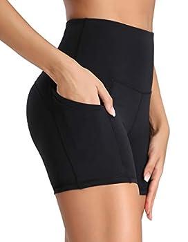 Oalka Women s Short Yoga Side Pockets High Waist Workout Running Shorts New Black M