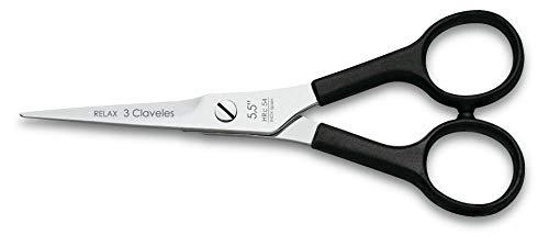 """3 Claveles Relax - Tijera de peluquería de corte negro 5.5"""""""