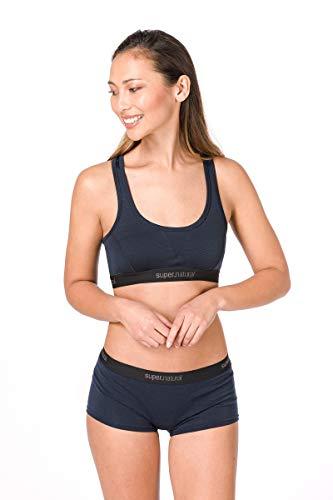 Super.natural Soutien-gorge de Sport Femme, Laine mérinos, W SEMPLICE BRA 220, Taille: XS, Couleur: Bleu foncé
