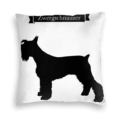 Liquor S Velvet Pillowcase, Skin-Friendly,Double-Sided Printing,Dog Purebred Miniature Schnauzer Hidden Zip Pillowcase Pattern