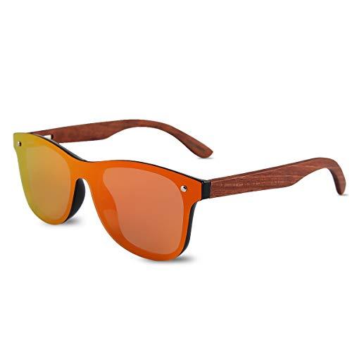 LumiSyne Occhiali Da Sole In Legno Vero Per Uomo Donna Polarizzati UV400 Lente a Specchio Un Pezzo Senza Montatura Con Custodia Per Occhiali Per Guida Sport Viaggio Regalo
