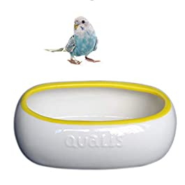 POPETPOP Ceramic Parrot Bathtub Pet Feeder Bowl Adorable Food Safety Grade Dog Indoor Cat Feeding Pot for Small Pet