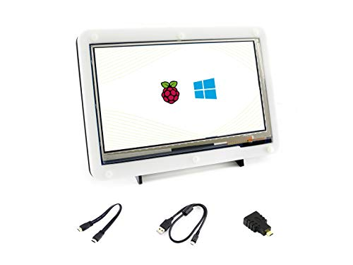 Waveshare 7inch HDMI LCD (C) Capacitive Touch Screen Display Supports Various Systems for All Ver. Raspberry pi 3 Model B/ 2B/B+/B/A BeagleBone Black Banana Pi/Pro Video Photo Kit with Bicolor Case