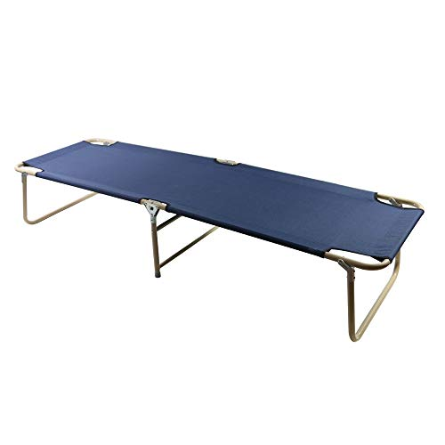 JOMSK Camping Folding Bed Accompanying Beds Home Folding Bed Hospital Single Office Siesta Marching Outdoor Beach Home Office Break Folding Bed (Color : Blue, Size : 180 * 60 * 35cm)