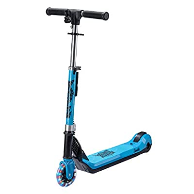 Xootz Kids Elements Electric Folding Scooter with LED Light Up Wheel and Collapsible Handlebars, Blue