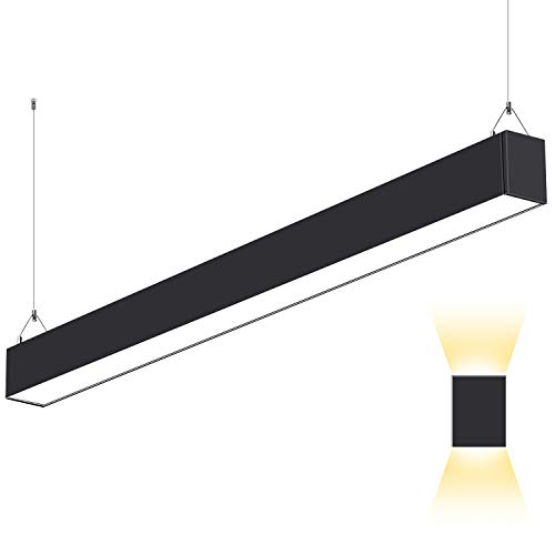 LED Architectural Suspended Direct Indirect Linear Channel Light, 4FT 50W 3000K/4000K/5000K CCT Selectable, Black Finish Dimmable Office Lighting Fixture for Commercial Places,5500lm - 1 Pack