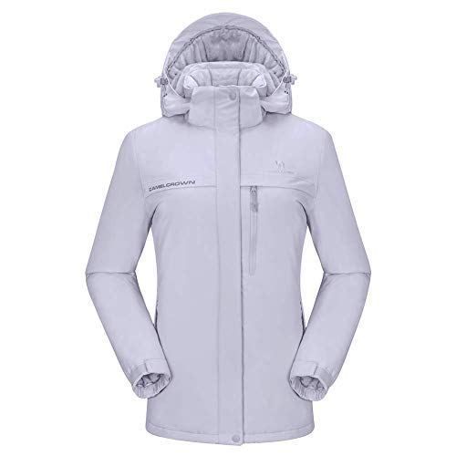 CAMEL CROWN Chaqueta Impermeable con Capucha para Mujer A Prueba de Viento Chaqueta de Esquí con Forro Polar Jacket Invierno para Montaña Acampada Viajes Snowboard Deportes (Gris-1, S(US Label)=M(EU))