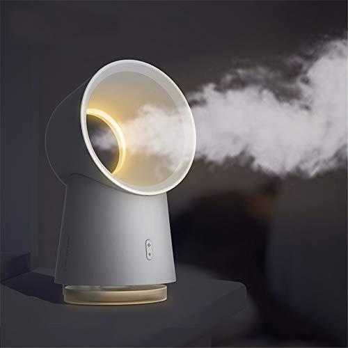Ventilator mit USB-Anschluss, blasenfrei, 3 in 1, Mini-Ventilator ohne Flügel, Luftbefeuchter mit LED-Licht, weiß, 3 Geschwindigkeiten, verstellbar