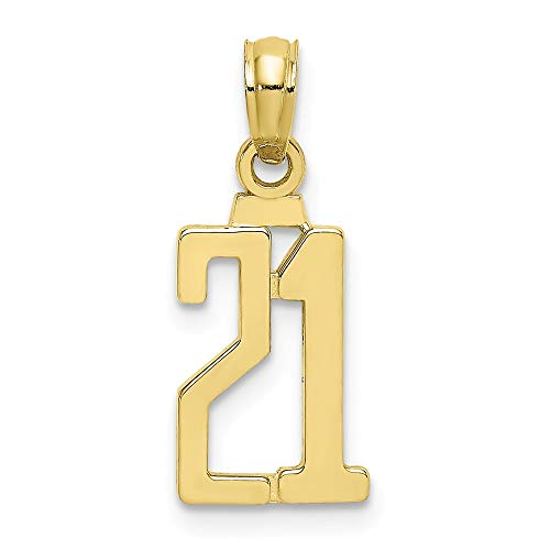 10k Yellow Gold Number 21 Pendant Charm Necklace Charms Fine Jewelry For Women Gifts For Her