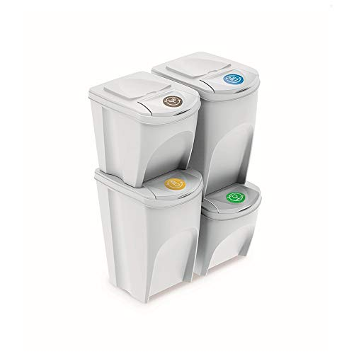 Prosperplast Juego de 4 Cubos de Reciclaje (2x35L y 2x25L) Sortibox de plastico en Color Blanco, 2 Grandes + 2 pequeños